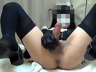 crossdresser cosplay crossdresser masturbation/maid